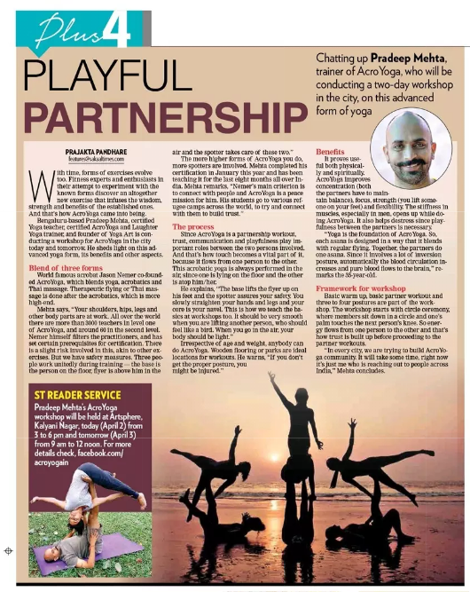 Acroyoga article in Pune – Sakal Times